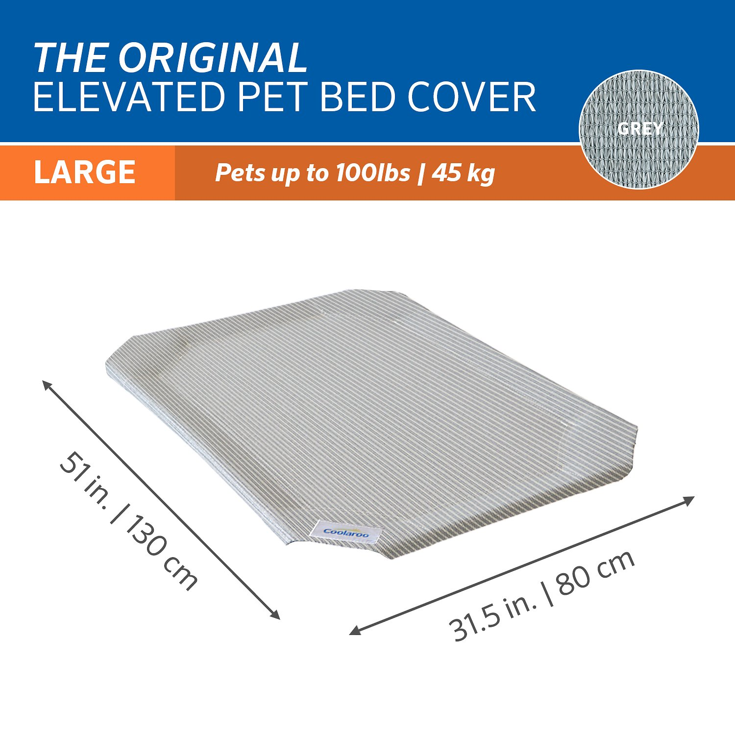 coolaroo replacement cover for steelframed elevated pet bed grey