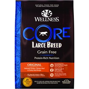 Wellness CORE Grain-Free Large Breed Chicken & Turkey Recipe Dry Dog Food, 12-lb bag; Help your big buddy live his best life with Wellness CORE Natural Large Breed Dog Food. This grain-free dry food for large breed dogs is formulated with chicken, turkey, fruits and vegetables and fortified with antioxidants, probiotics, vitamins, minerals, glucosamine, chondroitin and omega fatty acids. It is crafted into a larger kibble size for easy eating and designed to promote lean body mass, muscle tone and a healthy coat and skin. This dry dog food is developed using advanced natural nutrition that features premium proteins balanced with nutrient-rich superfoods. It encourages whole body health without any meat by-products, fillers, grain, corn, soy, wheat-gluten or artificial preservatives, colors or flavors.