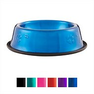 Platinum Pets Stainless Steel Embossed Non-Tip Dog Bowl, Sapphire Blue, X-Small