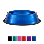 Platinum Pets Stainless Steel Embossed Non-Tip Dog Bowl, Sapphire Blue, Large