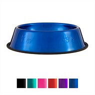 Platinum Pets Stainless Steel Embossed Non-Tip Dog Bowl, Sapphire Blue, X-Large