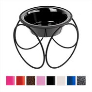Platinum Pets Olympic Single Elevated Wide Rimmed Pet Bowl, Midnight Black, Small