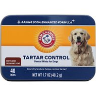 Arm & Hammer Dental Advanced Care Tartar Control Dental Mints Dog Treats, 40-count