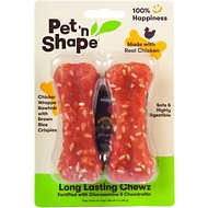 Pet 'n Shape Long Lasting Chewz Chicken Bones Dog Treats, 4-in, 2 count, 1-pack