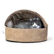 K&H Pet Products Thermo-Kitty Deluxe Hooded Cat Bed, Tan, Large