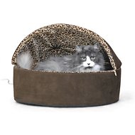 K&H Pet Products Thermo-Kitty Deluxe Hooded Cat Bed, Mocha, Large