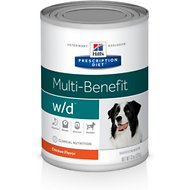 Hill's Prescription Diet w/d Multi-Benefit Digestive/Weight/Glucose/Urinary Management with Chicken Canned Dog Food, 13-oz, case of 12