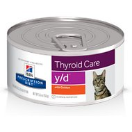 Hill's Prescription Diet y/d Thyroid Care with Chicken Canned Cat Food, 5.5-oz, case of 24
