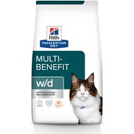 Hill's Prescription Diet w/d Multi-Benefit Digestive, Weight, Glucose, Urinary Management with Chicken Dry Cat Food, 4-lb bag