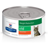 Hill's Prescription Diet r/d Weight Reduction Chicken Flavor Canned Cat Food, 5.5-oz, case of 24