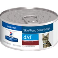 Hill's Prescription Diet d/d Skin/Food Sensitivities Venison Formula Canned Cat Food, 5.5-oz, case of 24