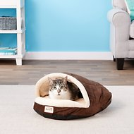Armarkat Slipper Shape Covered Cat & Dog Bed w/Remoable Cover, Mocha/Beige