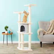 Armarkat 64-in Cat Tree, Blanched Almond/Silver Grey