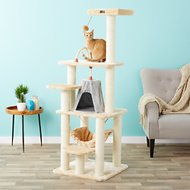 Armarkat 65-in Faux Fur Cat Tree & Condo, Beige