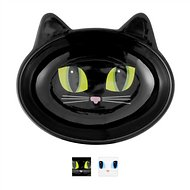 PetRageous Designs Frisky Kitty Oval Cat Dish, Black
