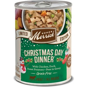 Merrick Seasonal Grain-Free Christmas Day Dinner Chicken, Duck, Sweet Potatoes & Peas in Gravy Canned Dog Food, 12.7-oz, case of 12; Nothing brings family together like a delicious holiday meal, and now your four-legged family member can have a natural, wholesome dinner made just for him with Merrick Seasonal Grain-Free Christmas Day Dinner Chicken, Duck, Sweet Potatoes & Peas in Gravy Canned Dog Food. All nice with nothing naughty, this hearty stew features real de-boned chicken in a savory broth, along with de-boned duck, fresh sweet potatoes and peas. The all-natural, grain-free recipe is easy to digest and ideal for the dog with allergies or other food sensitivities. Like all of Merrick's high-quality foods, it's proudly made in their Texas facility and contains no corn, wheat or soy for a lip-smacking meal that every good boy is sure to love.