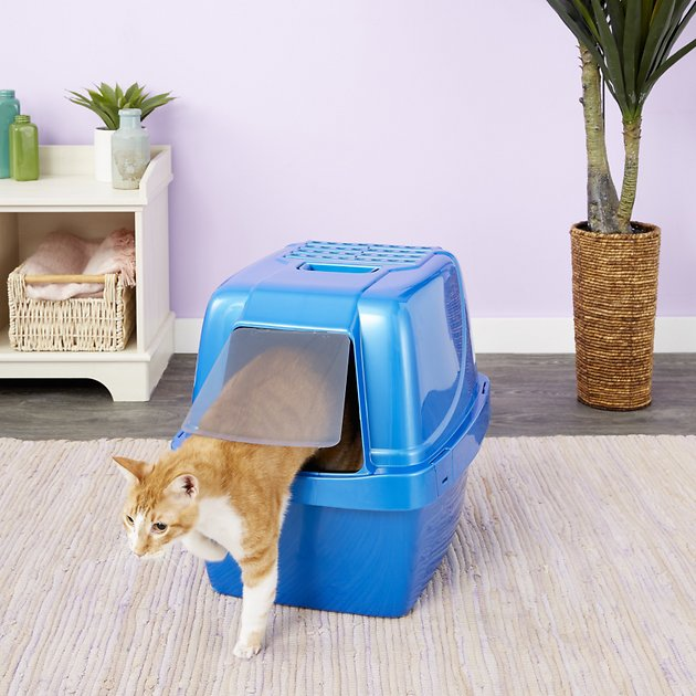 Van Ness Enclosed Sifting Cat Litter Pan Giant Blue Chewy Com