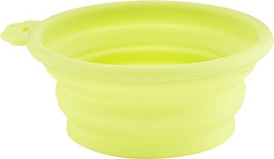 Petmate Silicone Round Collapsible Travel Dog & Cat Bowl, Go Go Green, 1.5-cup