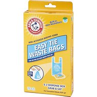 Arm & Hammer Disposable Handle Easy Tie Waste Bags, Blue, 75 count