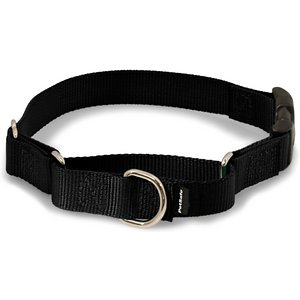 PetSafe Premier Quick Snap Nylon Martingale Dog Collar, Black, Medium: 11 to 15-in neck, 3/4-in wide; This martingale-style dog collar has an added quick-release snap buckle for easier on and off. Martingale collars are safer than choke chains or prong collars. Used with a leash or with your hand, the martingale collar tightens when your dog pulls and loosens when he stops, so it's only tight when it needs to be. These collars give you greater control and reduce the risk of your dog slipping out and escaping.