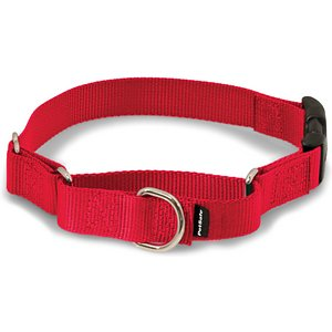 PetSafe Premier Quick Snap Nylon Martingale Dog Collar, Red, Petite: 7 to 9-in neck, 3/8-in wide; This martingale-style dog collar has an added quick-release snap buckle for easier on and off. Martingale collars are safer than choke chains or prong collars. Used with a leash or with your hand, the martingale collar tightens when your dog pulls and loosens when he stops, so it's only tight when it needs to be. These collars give you greater control and reduce the risk of your dog slipping out and escaping.