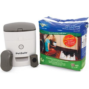 PetSafe Train \\\'n Praise Potty Training System; Train 'n Praise provides an easier way of house training your dog. As the dog urinates on the replaceable pee pad, the moisture alerts an internal sensor in the pad which wirelessly transmits a signal to the treat dispenser. The treat dispenser then releases treats/kibble, rewarding your pet for using the pee pad correctly. Moisture is trapped in the bottom layer, leaving your floor clean and dry. This effective and practical house-training tool teaches your pet where it\\\'s okay to use the bathroom, and it lets you continue your dog\\\'s potty training even when you\\\'re away.