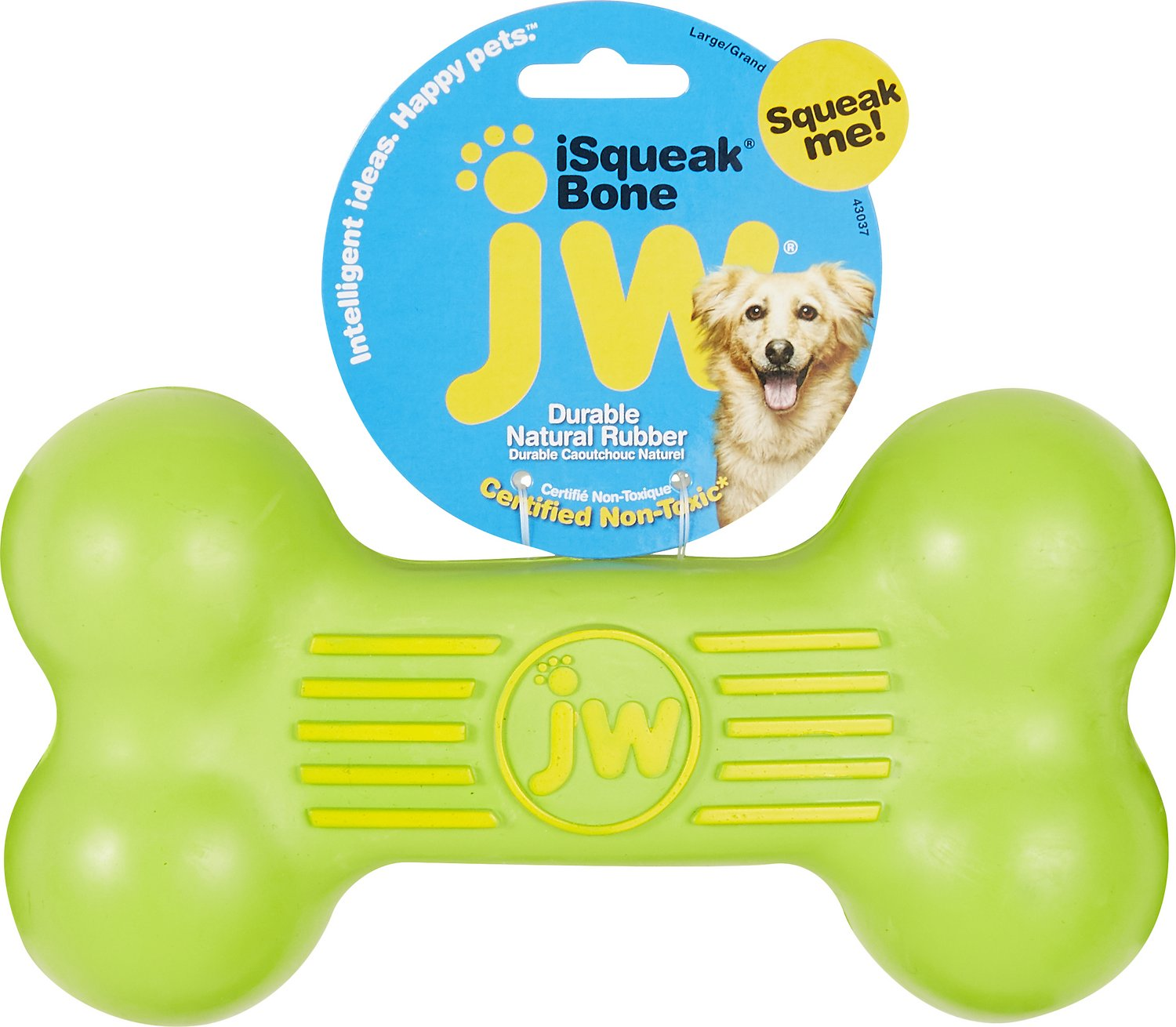 Jw Pet Isqueak Bone Dog Toy Color Varies Large