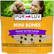 Pur Luv Bones Peanut Butter Dog Treats, Mini, 60 count