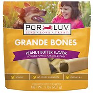 Pur Luv Bones Peanut Butter Dog Treats, Big, 12 count