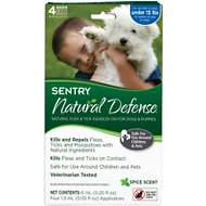 Sentry Natural Defense Flea & Tick Squeeze-On for Dogs, Under 15-lbs