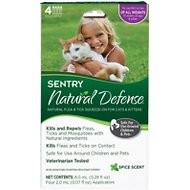 Sentry Natural Defense Flea & Tick Squeeze-On for Cats & Kittens, 4 treatments