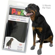 Pawz Waterproof Dog Boots, Black, Large, 12 count
