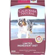California Natural Adult Limited Ingredient Grain Free Venison & Green Lentils Recipe Dog Food, 26-lb bag