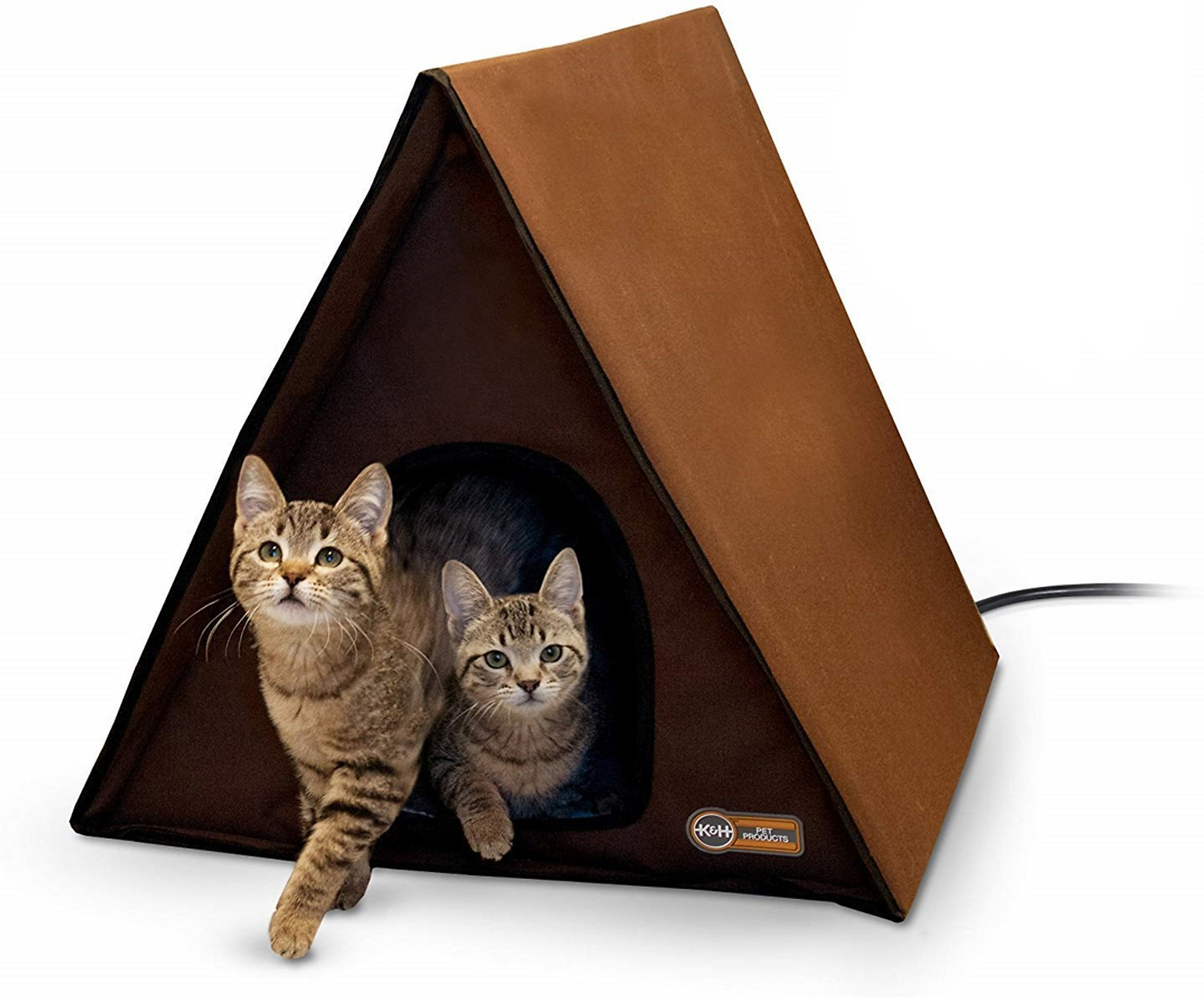 K/&H Pet Products Outdoor Kitty House Multi-Kitty A-Frame Chocolate 35 x 20.5 x 20 Unheated