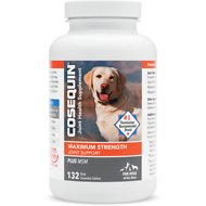 Nutramax Cosequin Maximum Strength (DS) Plus MSM Chewable Tablets Joint Health Supplement for Dogs, 132 count