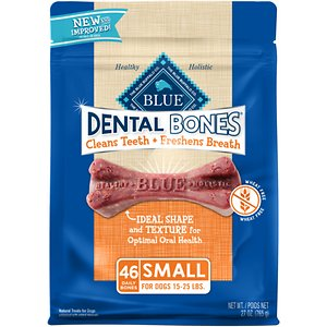 Blue Buffalo Dental Bones All Natural Rawhide-Free Small Dental Dog Treats, 46 count; Blue Buffalo Dental Bones All Natural Small Dog Treats are tasty and highly digestible dental chews that help freshen your dog's breath and make his teeth sparkle. These small bones are great for dogs 15-25 lbs. They're the only dental chews with a unique blend of natural ingredients that help promote specific health benefits.