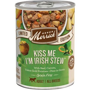 Merrick Seasonal Grain-Free Kiss Me I\\\'m Irish Stew Recipe Canned Dog Food, 12.7-oz, case of 12; Your hungry hound doesn't have to be wheaten terrier or a Kerry beagle to appreciate the delicious flavor of Merrick Seasonal Grain-Free Kiss Me I\\\'m Irish Stew Recipe Canned Dog Food. He'll be the one dishing out the kisses when you give him a bowl of this natural, wholesome dinner featuring real de-boned beef in a savory broth, along with Yukon gold potatoes, carrots and dried peas. The all-natural, grain-free recipe is easy to digest and ideal for the dog with allergies or other food sensitivities. Like all of Merrick's high-quality foods, it's proudly made in their Texas facility and contains no corn, wheat or soy for a lip-smacking meal that will leave him feeling like he's the luckiest pup around.