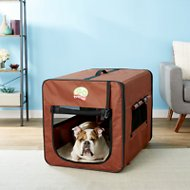GoPetClub Soft-Sided Dog Crate, Brown, 32-in