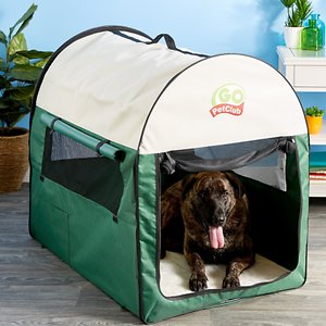 Go Pet Club Single Door Collapsible Soft-Sided Dog Crate, Green, 48 inch; Wherever your travels take you and your best bud, be sure to bring along the Go Pet Club Folding Soft Dog & Cat Crate. The lightweight and portable design makes bringing the crate wherever you go incredibly easy. You can seamlessly fold down the accessory into a compact shape for no-hassle storage and traveling. Crafted with a PVC backing and heavy-duty polyester that's water-resistant, this crate is a must-have for both indoor and outdoor purposes! Your canine companion or feline friend is kept safe, secure and comfortable inside with four-sided adjustable ventilated windows and a removable fleece floor pad.