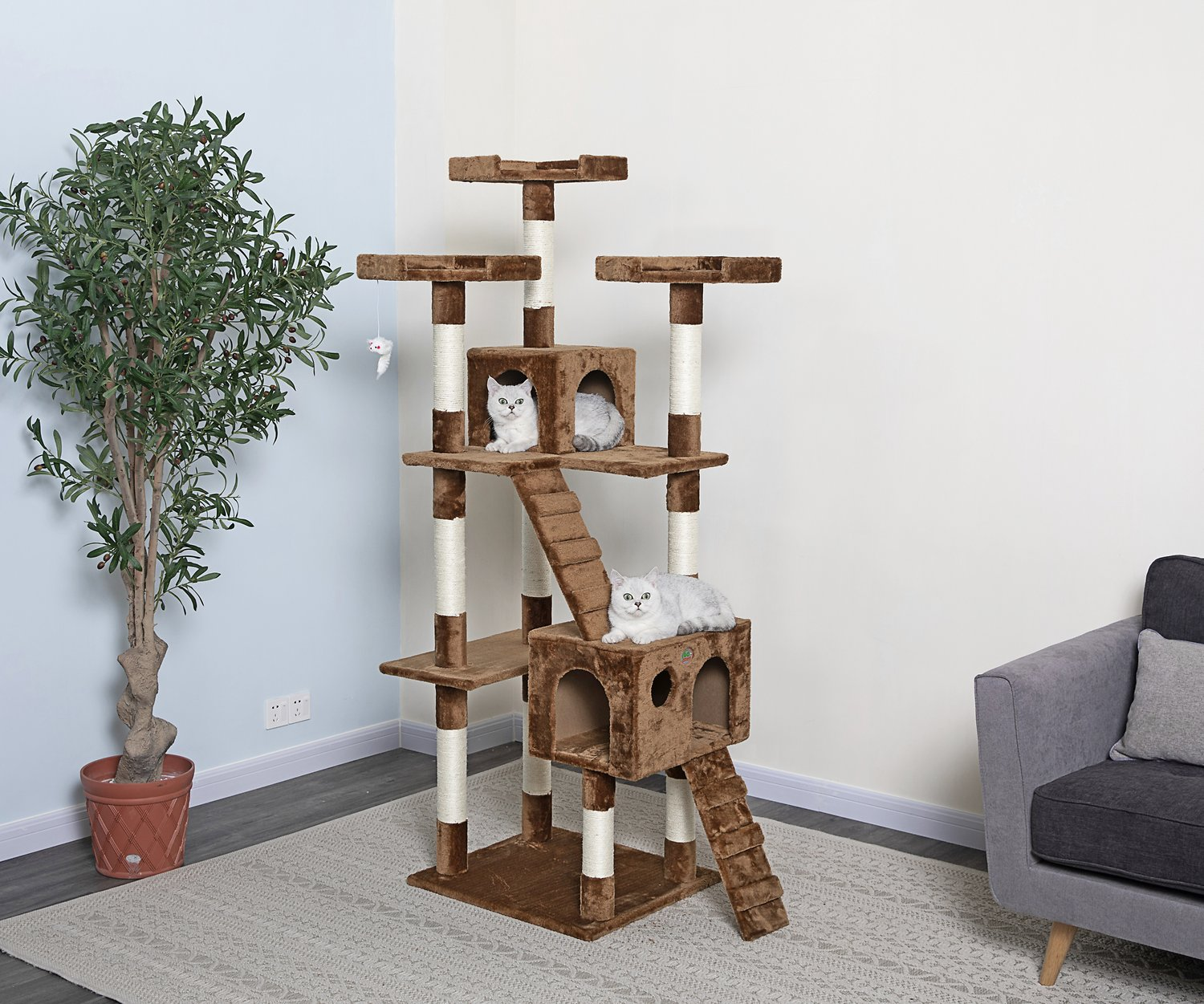 pics Frisco 72-in Cat Tree, Large Base, Brown