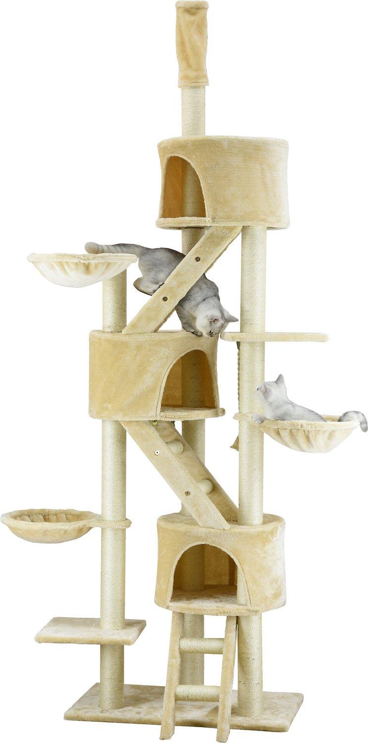 Go Pet Club 106-in Floor-to-Ceiling Faux Fur Cat Tree shipping for free