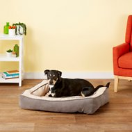 Precision Pet Products Chevron Chenille Gusset Low Bumper Pet Bed, Grey