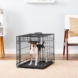 MidWest Ovation Single Door Collapsible Wire Dog Crate, 26 inch; When used properly, a dog crate mimics your dog\\\'s desire to find a safe and secure den and it should feel like a safe place for your dog. Ovation Dog Crates are wire models and they allow your dog a great view out and provide good airflow through the crate vs. the stifling plastic walls of many other crate styles. The sliding door dog crate design allows you to leave the crate open. Your dog can come and go as she pleases when you are around the house. Just slide the door back into place when you need to keep him contained. Ovation Dog Crates features a free divider panel. The divider panel hooks over the vertical bars on the sides of the crate and allows you to adjust the size of the crate as your dog grows. Ovation Dog Crates are also heavier than the crates you often find making this sliding door crate a versatile, long-lasting product for you and your dog!