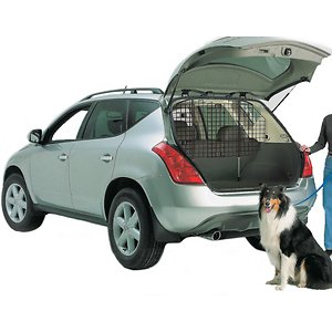 MidWest Wire Mesh Universal SUV Car Barrier; Keep your pal safe and secure with the MidWest Wire Mesh Universal SUV Car Barrier. Featuring an adjustable wire mesh, this pet barrier keeps your pal in the cargo area of your vehicle and away from the driver and the passengers. The durable barrier is easy to install and fully adjustable to fit most cars, SUVs and hatchbacks. It includes rubber feet on the adjustable rods to protect your vehicle for tears and damage. The black e-coat finish is perfect for minimizing the sun's glare and increasing the pet parent's visibility while driving.