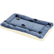 MidWest Quiet Time Fleece Reversible Pet Bed & Crate Mat, Blue Paw Print, 22-in