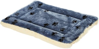 MidWest Quiet Time Fleece Reversible Dog Crate Mat, Blue Paw Print