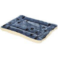 MidWest Quiet Time Fleece Reversible Pet Bed & Crate Mat, Blue Paw Print, 24-in