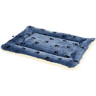 MidWest Quiet Time Fleece Reversible Pet Bed & Crate Mat, Blue Paw Print, 42-in