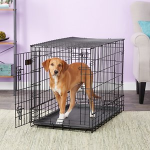 MidWest Solutions Series Side by Side Double Door Collapsible SUV Dog Crate, 36 inch; Keep your pal safe in the back of your SUV with the MidWest Solutions Series Side by Side Dog Crate. Featuring a double door, the crate is specifically made to fit most SUVs, vans and larger vehicles. It is designed to be narrower than the standard-size crate, so it's easier to fit two of them side-by-side in the cargo area of your SUV. The front and back doors are perfect for easy access when you have it in your vehicle. Each door includes two, heavy-duty, slide-bolt latches for safety and confidence while you\\\'re driving. It also comes with a durable leak-proof plastic pan for those little accidents, a long-lasting black e-coat that prevents rust and a carrying handle for portability. Plus, it folds flats when not in use for easy travel and storage.