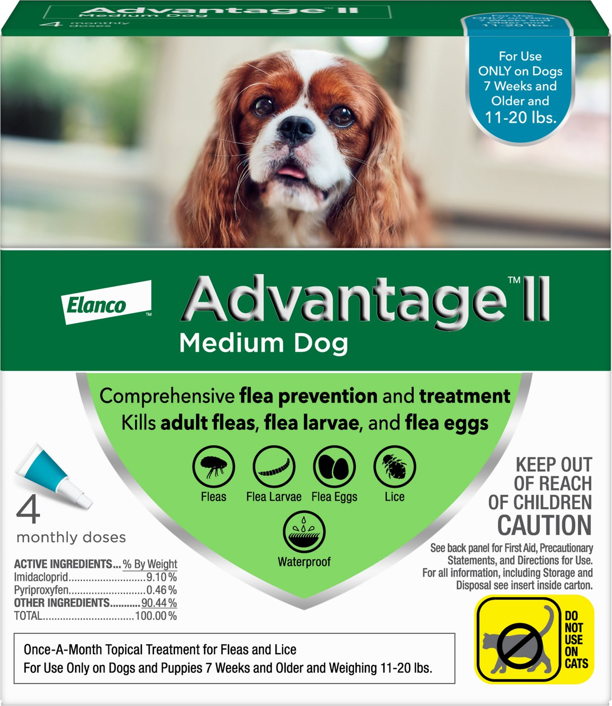 Advantage Ii Flea Tick Spot Treatment For Dogs 11 20 Lbs 4 Doses 4 Mos Supply Chewy Com